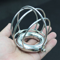 Penis Restraint Scrotum Testicle Pendants Cockrings Stainless Steel Chastity Devices with Scrotum Testis Protection Cage for Men