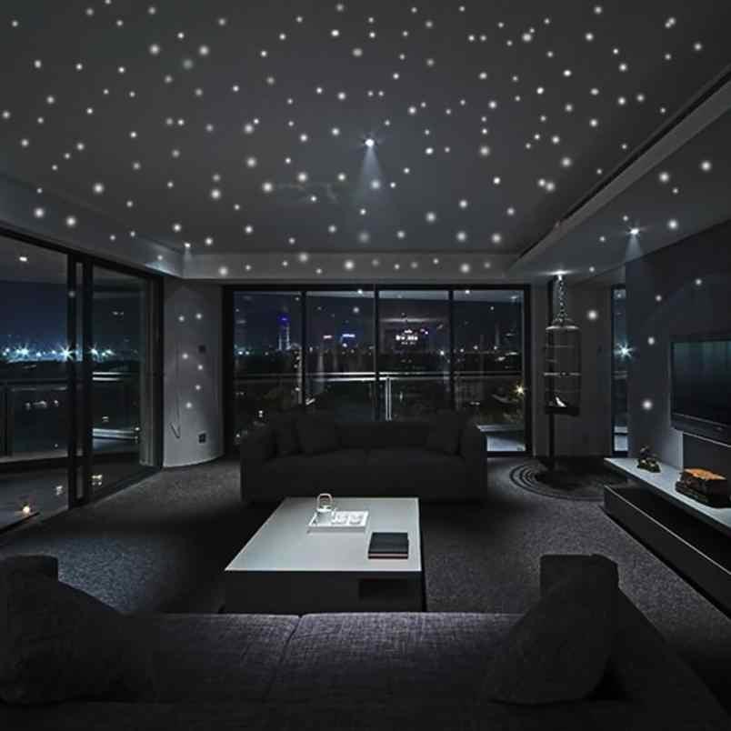 בית תפאורה זוהר בחושך כוכב קיר מדבקות 252 נקודות וירח כוכבים שמיים ילדי חדר תפאורה קיר מדבקה בית דקו מראה AU2