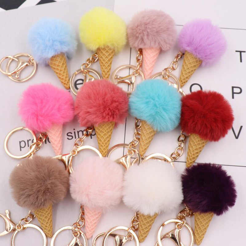 10 pçs/lote meninas moda jóias festa favores chaveiros adorável sorvete fofo chaveiro presente do chuveiro do bebê para as mulheres sacos dec