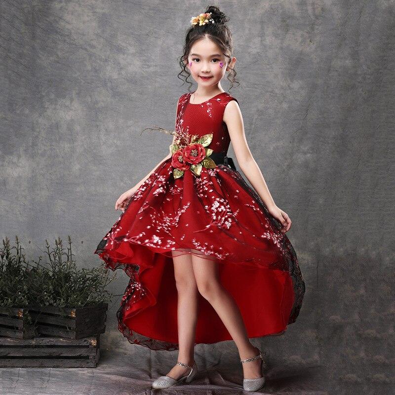 Vintage Wedding Dresses Red: 2019 Vintage Lace Rustic Red Green Flower Kids Dresses