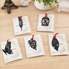 DIY Винтаж ретро металл Закладки черная птица бабочка цветок листьев Закладки подарок Вышивка Крестом Пакет корейский канцелярские