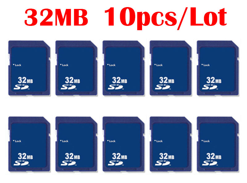 10pcs/Lot SD Card 16MB 32MB Carte SD Memory Cards Wholesale China Supplier Cheap High Quality Compact Flash For Free Shipping