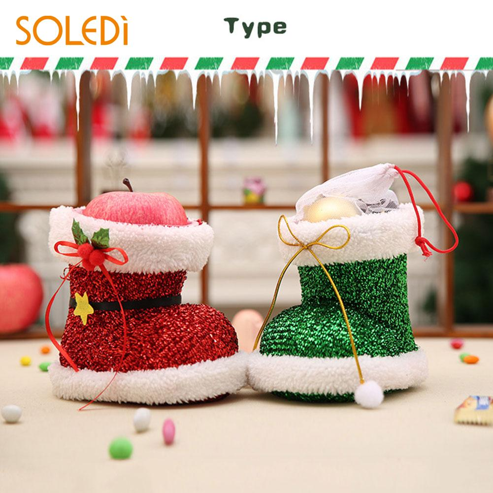 Christmas Shoes Gift Treat Candy Storage Pounch Bag Holder PVC Party Decoration