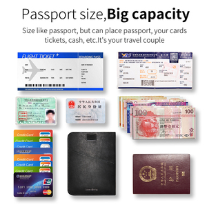 Image 4 - NewBring Funda de cuero para pasaporte para hombre y mujer, Cartera de viaje para tarjeta de crédito, talonario, titular de la identificación, Clip para billetes, monedero, porta pasaporte