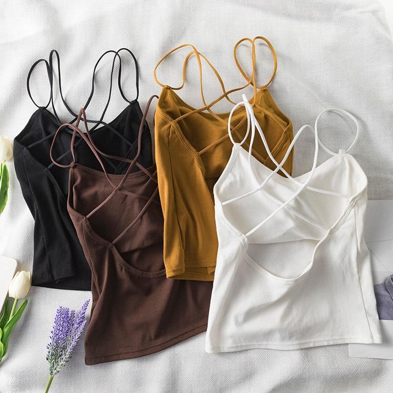 2019 yeni seksi kadınlar Cut Out çizgili Bra büstiyer kırpma üst Bralette Strappy çapraz kırpılmış Blusas bandaj Halter siyah üstleri camiş