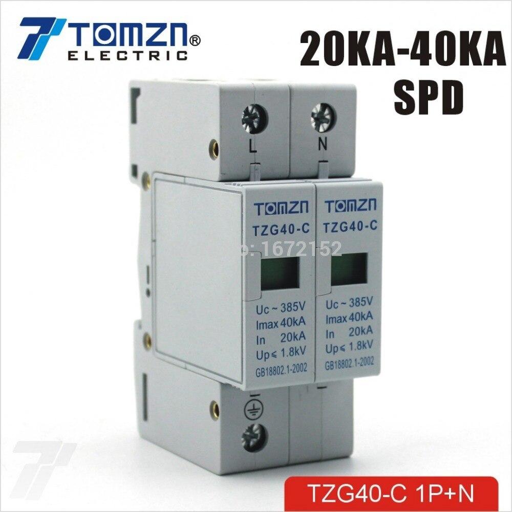 SPD 1P+N 20KA~40KA C ~385VAC House Surge Protector protection ...
