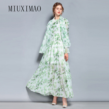 2018 High Quality Spring & Summer New Arrival Fashion O-Neck Full Sleeve Elegant Flower Print Ankle-Length Long Dress Women