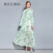 2018 High Quality Spring & Summer New Arrival Fashion O-Neck Full Sleeve Elegant Flower Print Ankle-Length Long Dress Women(China)