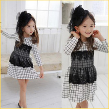 RetailNew Girl Kid Flaid Tartan Polka Dot Long Sleeve Dress Tulle Lace Fall 2-7Y