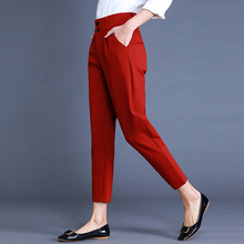 Modern Idea Formal Office Work Red Black Business Suit Trousers Plus Size
