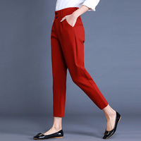High Quality Women Formal Office Work Pants Red Black Business Suit Trousers Plus Size Women clothing 4xl Ladies OL Harem Pants