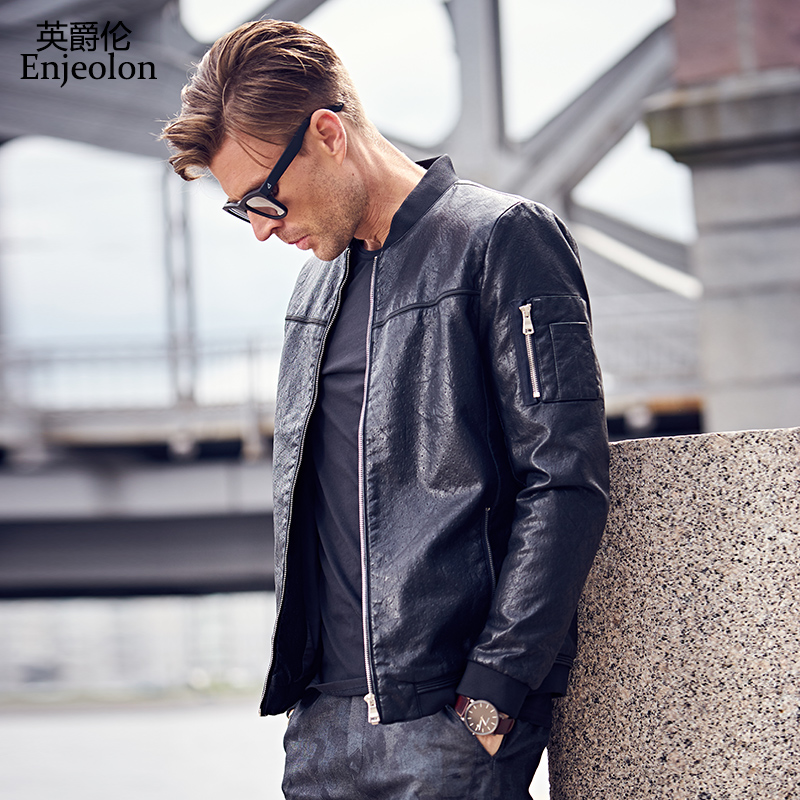Enjeolon brand top quality black Motorcycle Leather PU Jackets coat Men, stand collar fashion winter coat Male Casual Coats P340