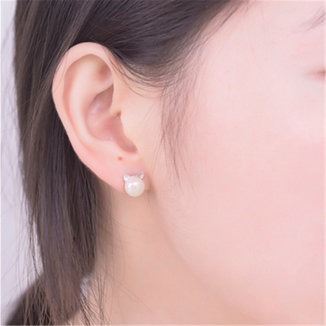 H:HYDE Fashion Simulated Round Pearl Earring Stud Silver Color Stainless Steel Cute Cat Earring Fashion Wedding Pearl Jewelry  3