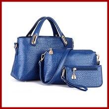 Nueva promoción de 2015 famosos diseñado mujeres messenger bags bolsos de cuero de alto grado de hombro bolsas 3 sets envío gratis