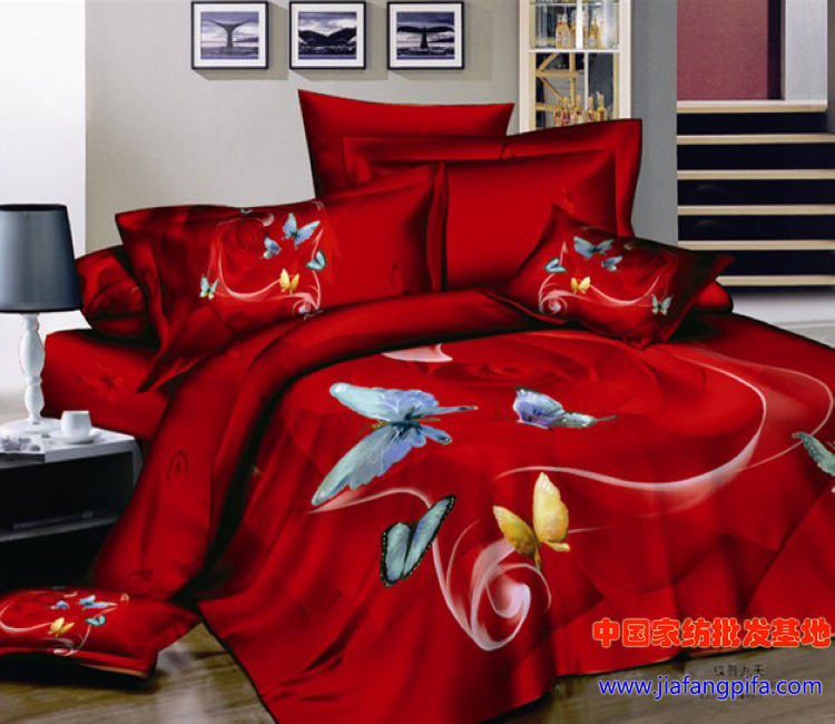 Red Butterfly Bedding Comforter Set Sets Queen Size For