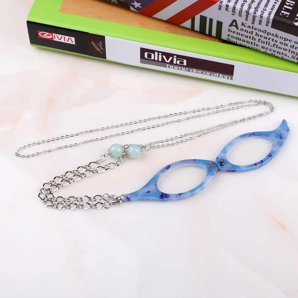 Vintage Folding Reading Glasses Chain Pendant Reader Necklace Shellhard Older Magnifier Jewelry Gift Colorful Frame Necklace