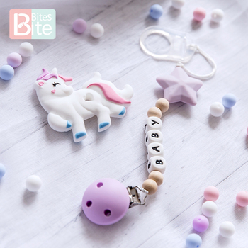 Bite Bites Baby Silicone Teether Personalized Name Animal Pacifier Clips Chain Pendant  Food Grade Perle Silicone Beads Teething personalized name baby teether silicone pacifier clips holder infant teething toys baby shower gift food grade silicone