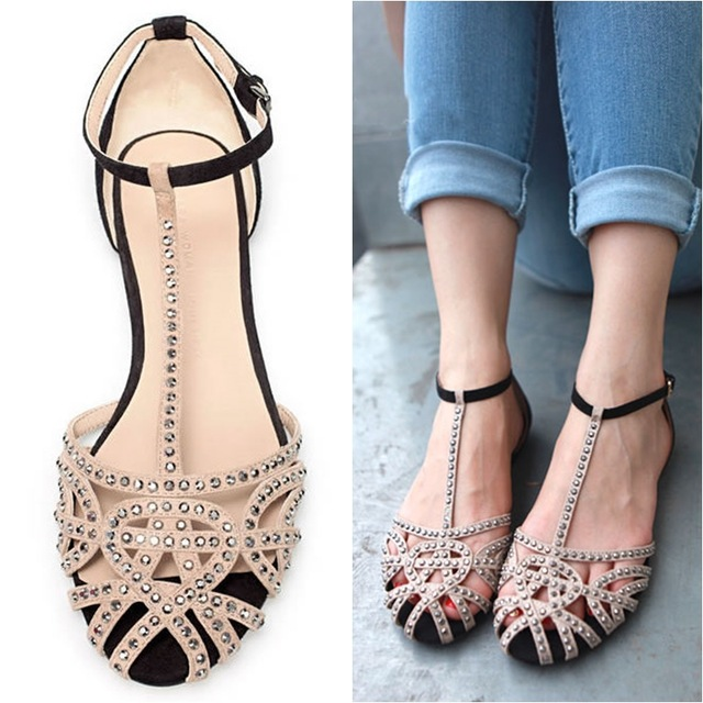 66246198c5f343 Hot sale brand new 2014 fashion women Flat sandals rhinestone cutout summer shoes  High quality open toe ladies shoes