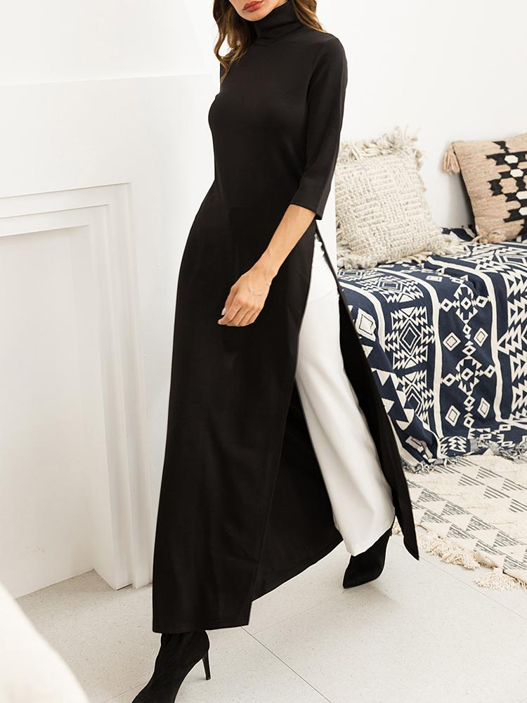 2019 Autumn Women Fashion Elegant Casual Plus Size Black Maxi Shirt Solid High Neck Side Slit Longline Top