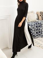 2019 Autumn Women Fashion Elegant Casual Plus Size Black Maxi Shirt Solid High Neck Side Slit Longline Top Blouses