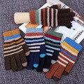 Осень и Зима мужская мода Полосатые вязаные перчатки Сенсорный Экран Перчатки теплые черные вязаные перчатки рукавицы Guantes Luvas B5710