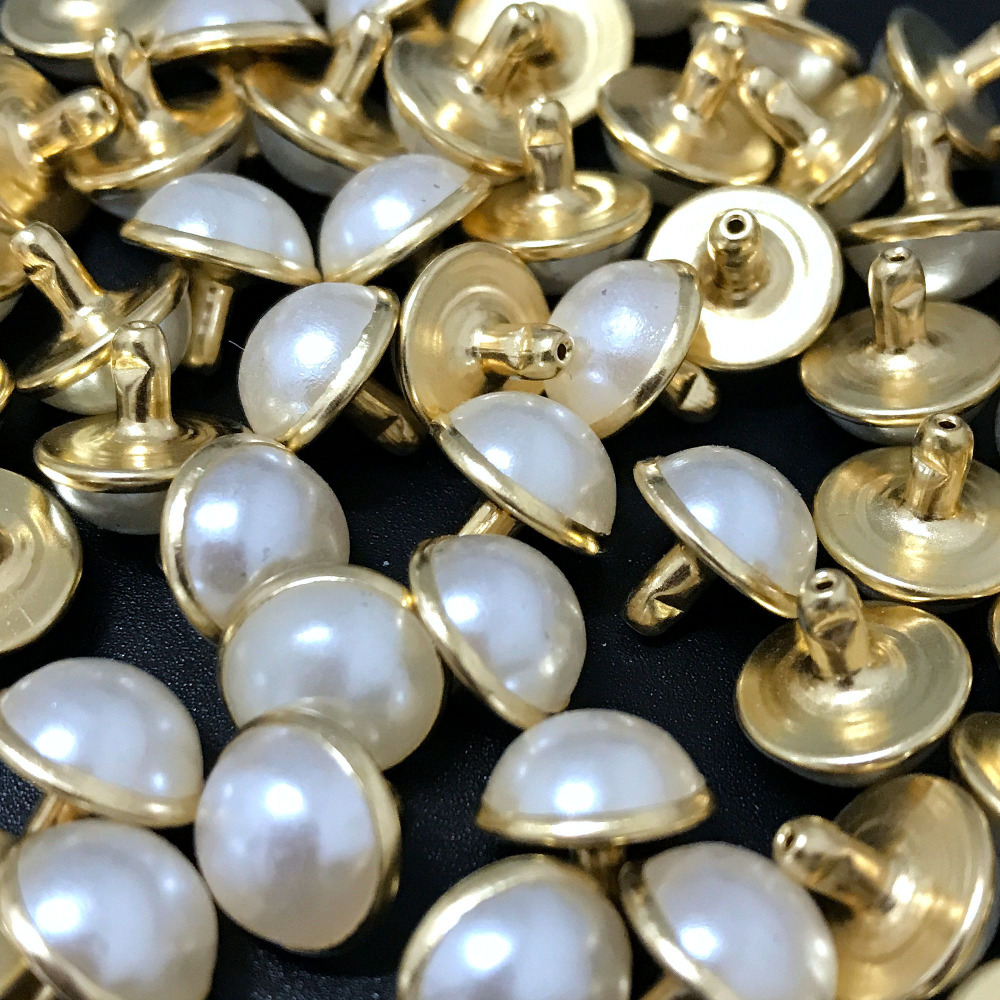 100pcs round gold acrylic pearl rivets leather for Pearl arts and crafts closing