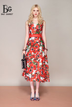 Bao Garret Fashion Designer Summer Dress Womens V Neck Rose Floral Print Flower Appliques Beading Midi Party Elegant