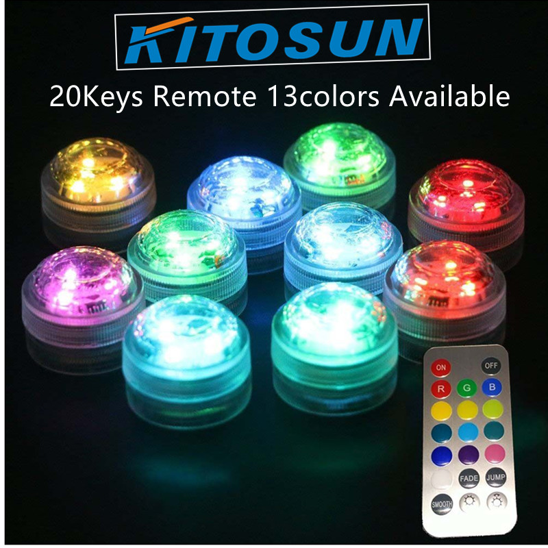 10*LED Decorative Lighting RGB Color Chaning Submersible Mini LED Night Party Light With Remote waterproof vase lamp for party