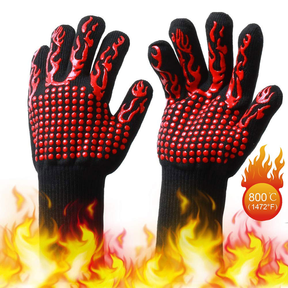 High Temperature Resistant 800 Glove BBQ Fire Gloves Flame Retardant Non-slip Fireproof Grill Insulation Microwave Oven Gloves