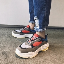 Harajuku Fashion chunky Sneakers women Runway Mixed Colors V Design Sole shoes Round Toe Leisure Shoes