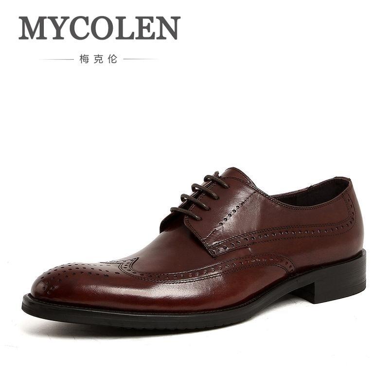 MYCOLEN British Style Leather Oxford Shoes Men Brogues Men's Genuine Leather Lace Up Brown Dress Shoes Gelinlik Ayakkabilari keddo womens lace up brogues