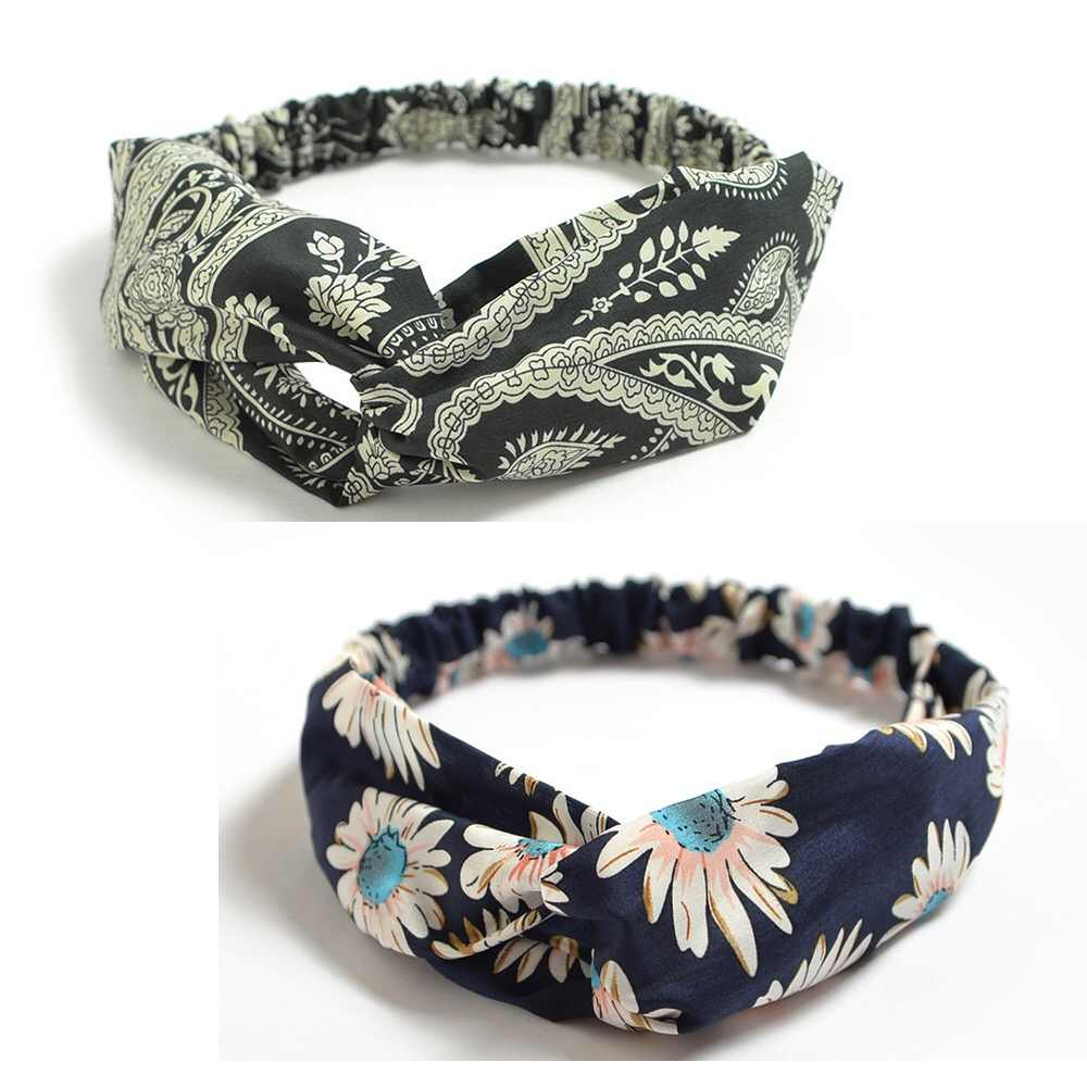 Boho Headbands for Women Vintage Floral Print Headwrap Hair Band Sports Elastic Head Wrap Twisted Cute Hair Accessories