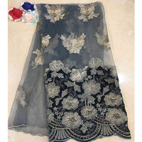 French Lace Fabric With Stones, Royal Blue French Fabric, Cheap African Lace French Lace Leaf Fabric A000XC 46A