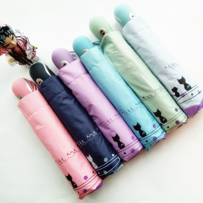 Windproof Cute Cat Payung automatik Hujan Sun Wanita Parasol Lady Paraguas Plegable Autos Mujer Guarda Sol Parapluie Automatique