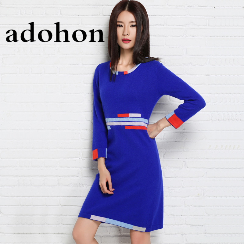 adohon 2018 womens winter Cashmere sweaters and auntmun women knitted Dresses High Quality Warm Female thickening Patchwork