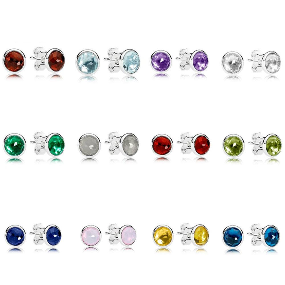KAKANY Stud-Earrings Gemstone Jewellery Round Women's 100%925-Sterling-Silver Original