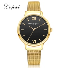 2017 Lvpai Brand New Simple Gold Alloy Watches Women Black Dial Fashion Quartz Ladies WristWatches Luxury Dress Female Clock