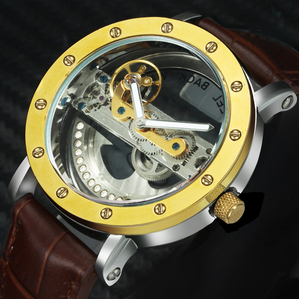 Clearance Fashion Casual Mechanical Watch Men Golden Bridge Leather Strap Unique Chic Design Top Brand Luxury Wristwatches 2019Clearance Fashion Casual Mechanical Watch Men Golden Bridge Leather Strap Unique Chic Design Top Brand Luxury Wristwatches 2019