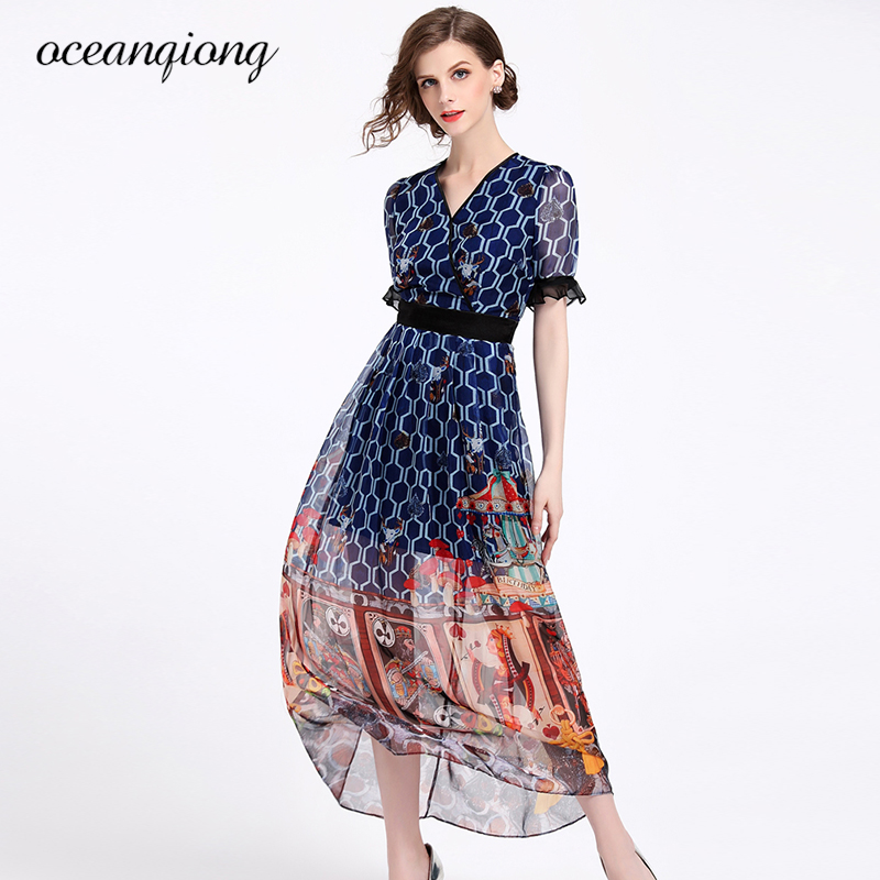 Summer Chiffon Dress Elegant Women Casual 2018 Ladies V Neck Vintage Floral Dresses Print Slim Beach Maxi Vestidos Plus Size