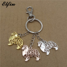 Elfin 2017 Trendy Rough Collie Key Chains Gold Color Silver Color Animal Pet Memorial Jewellery Shetland Sheepdog Key Rings