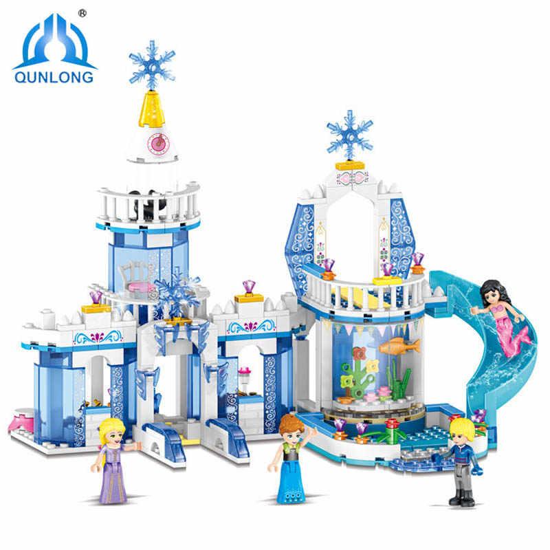Qunlong 2в1 344 шт мечта Снежная принцесса Эльза ледяной замок Принцесса Анна Набор Модель Строительные блоки подарки игрушки