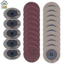 25 adet 50mm zımpara diski Roloc parlatma pedi levha 2 inç zımpara kağıdı Disk taşlama tekerlek aşındırıcı araçları 60 80 100 120 Grit