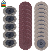 25pcs 50mm מלטש דיסק Roloc ליטוש כרית צלחת 2 אינץ מלטשת נייר דיסק טחינת גלגל שוחקים כלים 60 80 100 120 חצץ