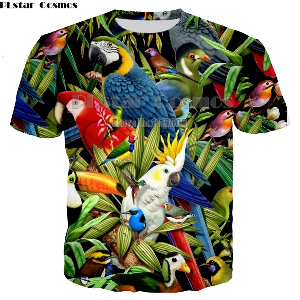 Parrot   T     Shirt   Men Flower Tshirt Hip Hop Tee brid 3d Print   T  -  shirt   Cool Men women Clothing Casual Tops sweatshirt   shirt   7XL