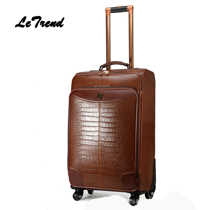 LeTrend High-grade Crocodile Rolling Luggage Spinner Trolley Carry On Luggage Wheel Suitcases Leather Travel bag Men Business