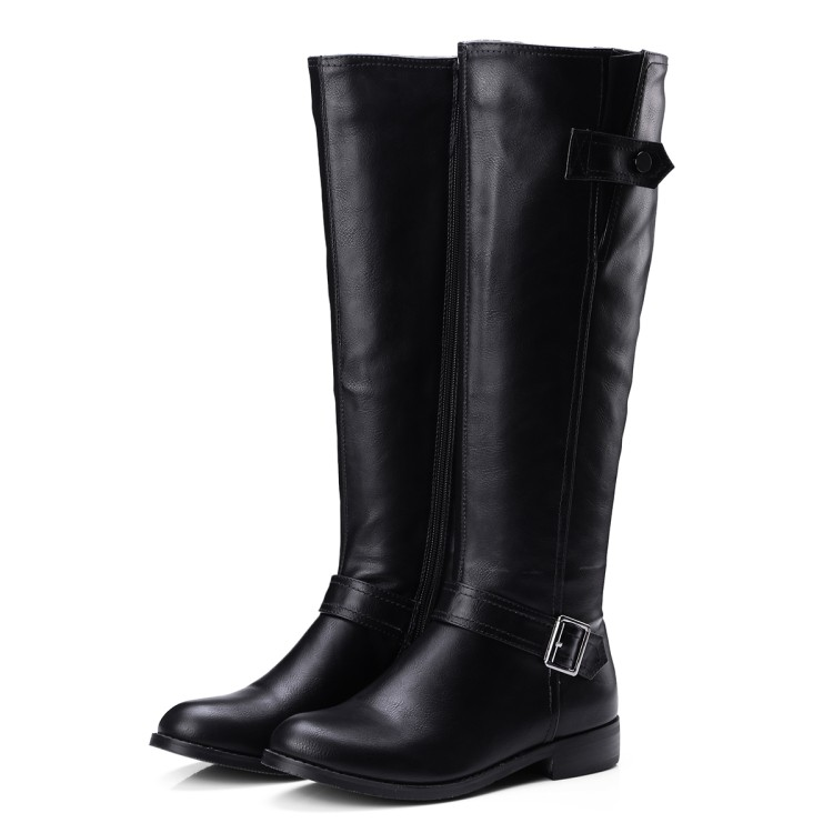 New Women Leather Knee High Hot Selling Female Leisure Tall Boots Autumn Winter Solid Color Thick Heel High Warm Boots Botas цены онлайн