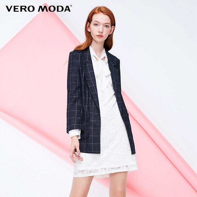 Vero Moda Women's Vintage Low-cut Plaid Long Blazer   318308508