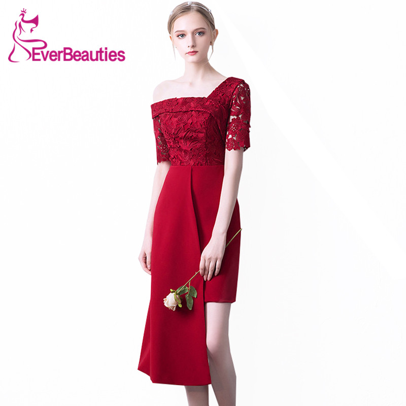 Mermaid   Cocktail     Dresses   2019 Wine Red Robe De   Cocktail   Half Sleeves Homecoming   Dresses   Knee-Length Prom Party   Dresses