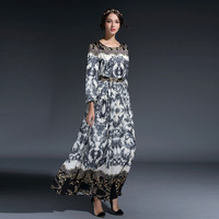 Ky Q 2018 Vintage Lace Print Long Party Dresses Women Winter Spring Celebrity Robe O Neck