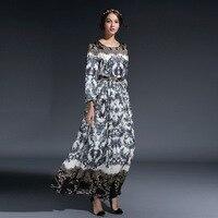 Ky Q 2018 Vintage Lace Print Long Party Dresses Women Winter Spring Celebrity Robe O Neck